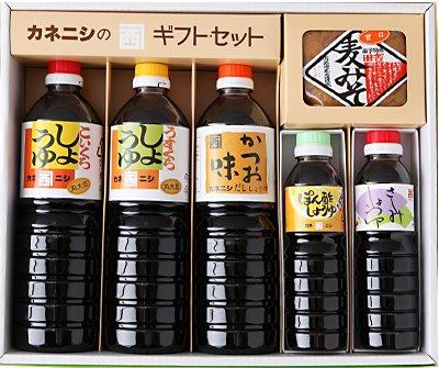 画像1: 岩松川だより【醤油ギフトセット】 かつお味だし醤油・濃口・薄口・刺身・ぽん酢・麦みそ